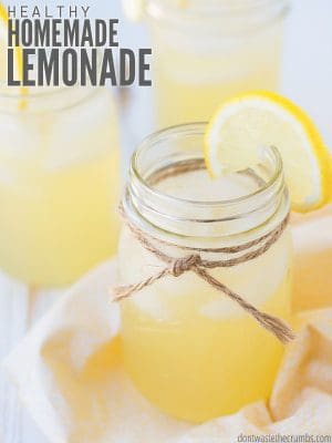 This healthy homemade lemonade recipe is made sugar-free with honey, but you can use stevia, agave or sugar. Also delicious unsweetened without sweetener! :: DontWastetheCrumbs.com