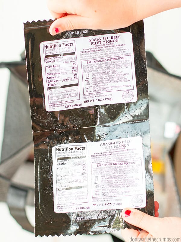 The backside of meat packages showing the nutritional facts and safe serving standards.