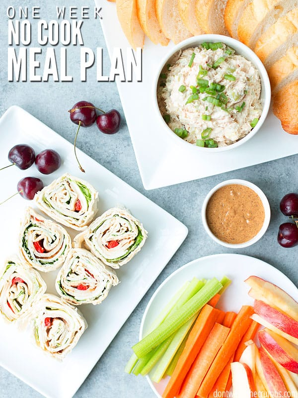 This one week no cook meal plan saves my summers! Go beyond meal prep and skip cooking altogether with family and budget-friendly no cook meal ideas! :: DontWastetheCrumbs.com