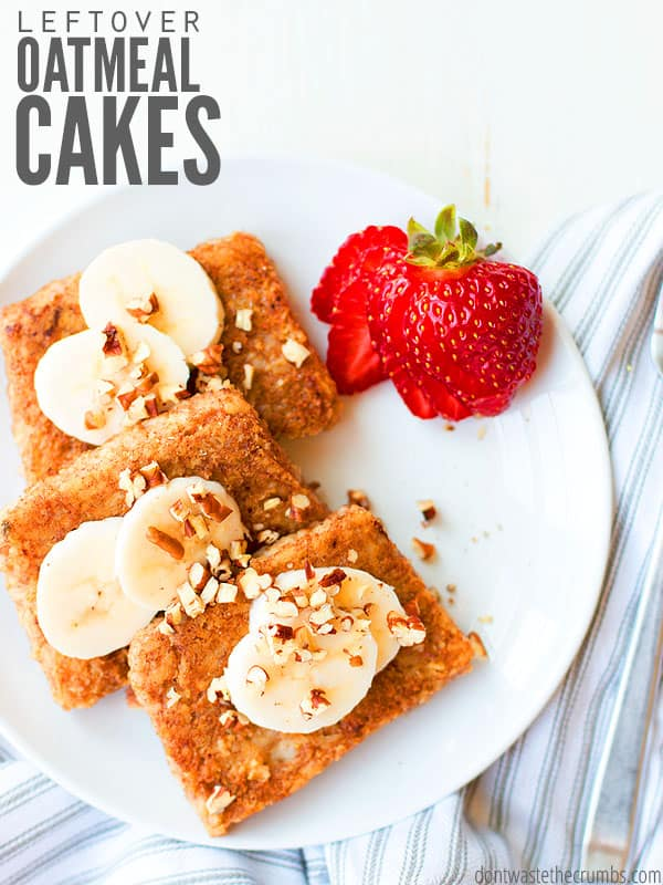 My kids LOVE leftover oatmeal cakes for breakfast, even better than muffins, bread and cookies. We've made raisin, apple, coffee in this super easy recipe! :: DontWastetheCrumbs.com