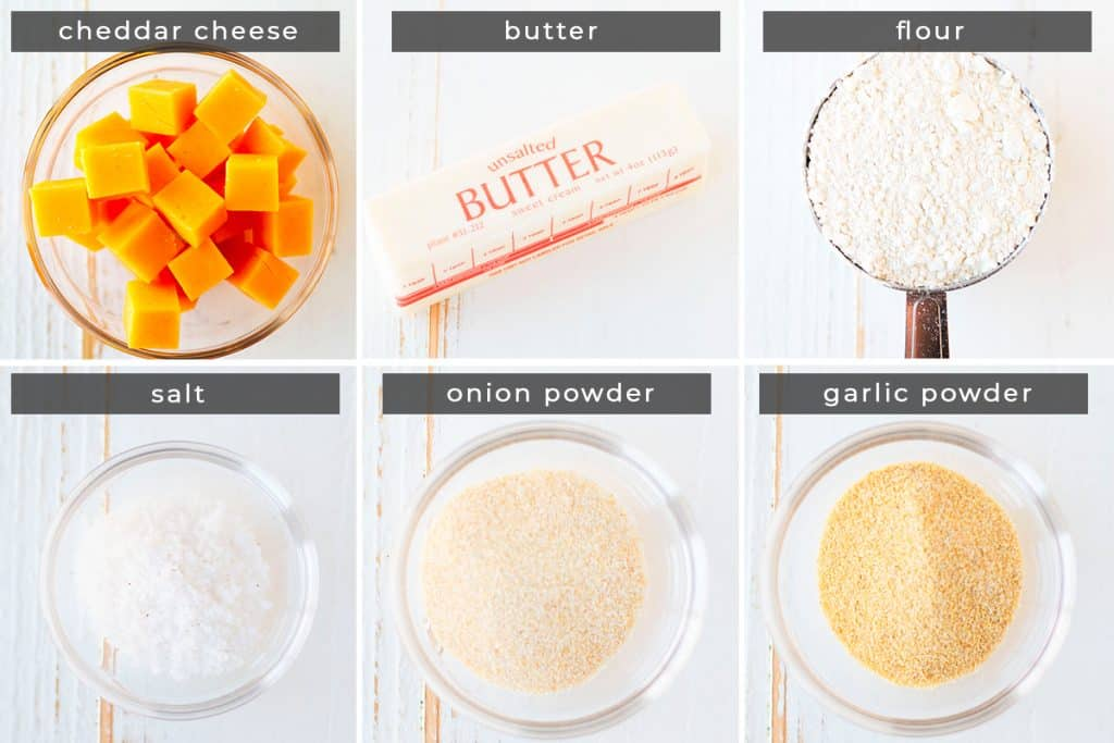 Image containing recipe ingredients cheddar cheese, butter, flour, salt, onion powder, and garlic powder.