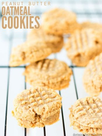 The best peanut butter oatmeal cookies are soft, chewy, healthy & of course, easy! These hearty low sugar oatmeal cookies are flourless and gluten-free with the perfect chewy texture! :: DontWastetheCrumbs.com