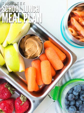 "School lunch box and thermos filled with healthy food. Text overlay says, ""Two Week School Lunch Meal Plan""."