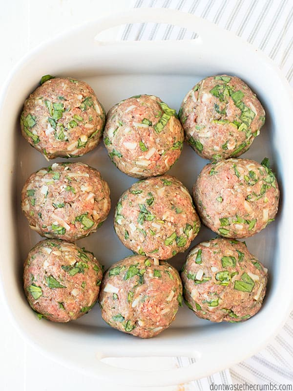 These giant Italian Meatballs are SO FUN! Not just are they meatballs, but they are GIANT! Put on top of a pile of spaghetti and top with sauce and dinner is DELISH!