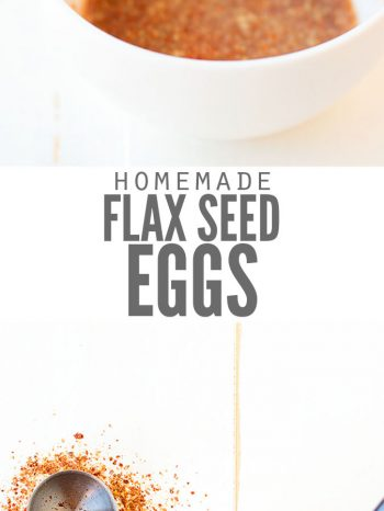 """Two images, one of a bowl filled with a flax egg and a spoon of ground flax seed. The second image is of a bowl with ground flaxseed and water with a measuring spoon. Text overlay says, """"Homemade Flax Seed Eggs""""."""
