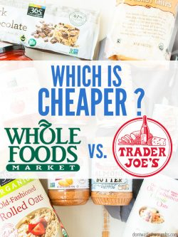 "Food products found at Trader Joe's and Whole Foods laid out on a table with text overlay, ""Which is Cheaper? Whole Foods vs. Trader Joe's""."