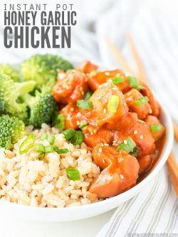 Instant Pot honey garlic chicken recipe is ready in 30 minutes! Use thighs or breasts and serve with rice and veggies for a healthy, fast weeknight dinner. :: DontWastetheCrumbs.com