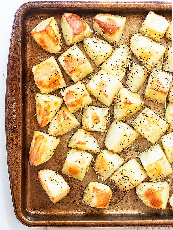 This perfect oven roasted potato recipe is easy to make your own! Use your family's favorite potato and seasoning for an easy weeknight side dish.