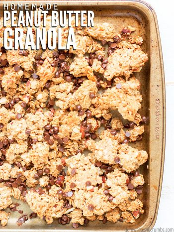 Stone cooking sheet pan filled with granola. Text overlay Homemade Peanut Butter Granola.