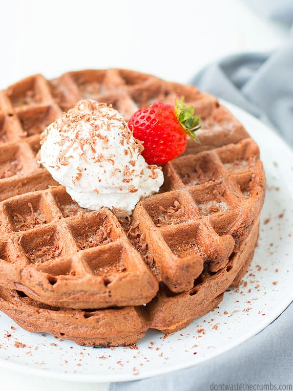 Chocolate for breakfast?! These healthy double chocolate waffles are amazing! So good you won't know they are so healthy.