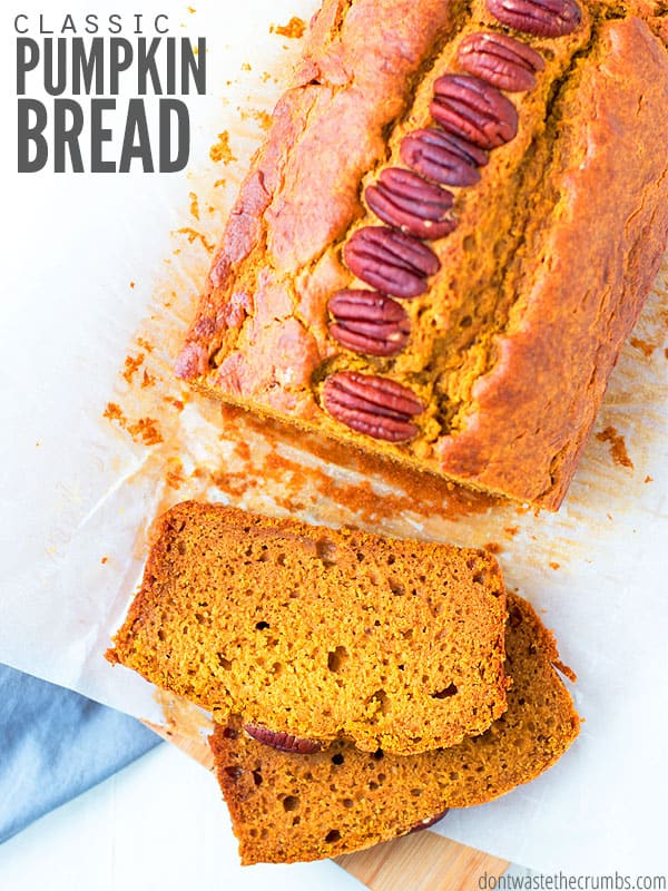 This healthy pumpkin bread recipe is so moist! Use canned pumpkin or homemade, vegan-friendly or add chocolate chips. My kids like it better than Starbucks! :: DontWastetheCrumbs.com