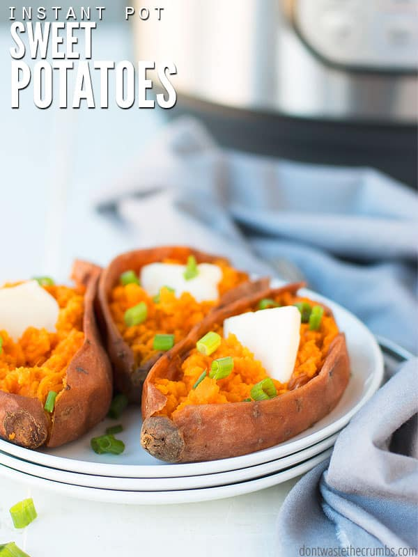 Make perfect Instant Pot sweet potatoes for a casserole, mashed potatoes, hash, soup, baby food - you name it. It's an easy way to meal prep for the week! :: DontWastetheCrumbs.com
