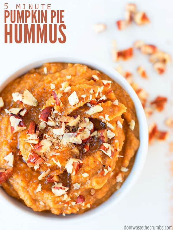 Pumpkin pie hummus is my FAVORITE dessert hummus recipe so far. It's perfectly sweet, whips up in a blender and tastes just like pie, minus the crust! :: DontWastetheCrumbs.com