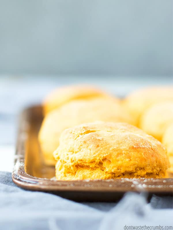 Do you have a resident picky eater? Are vegetables at dinner a rough topic? Make these sweet potato biscuits and your crew will gobble them up!!