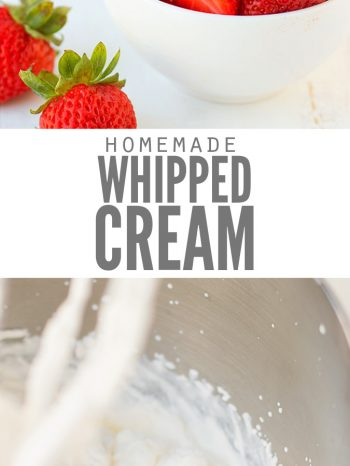"""Two images, the first a bowl full of whipped cream and strawberries around it. The second image is a mixing bowl whipping cream. Text overlay says, """"Homemade Whipped Cream""""."""
