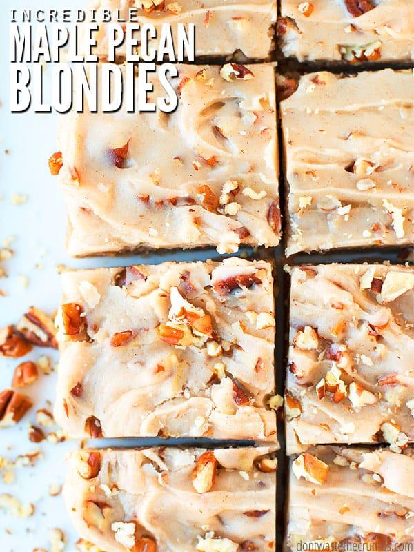 Maple pecan blondies cut into squares.