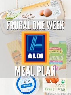 One week meal plan at ALDI - feed a family of four for $60! Includes the slow cooker, Instant Pot and ideas for using leftover ingredients to save more! : : DontWasteTheCrumbs.com