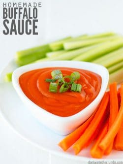 This easy homemade buffalo wing sauce recipe is an original and a crowd-pleaser! We start with franks (mild yet spicy) and it gets tastier from there! It's better than Buffalo Wild Wings! :: DontWastetheCrumbs.com