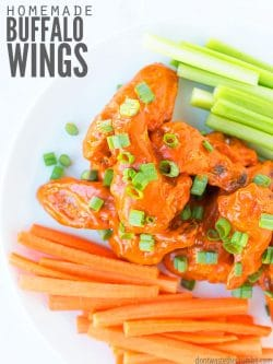 The best crispy baked chicken wings work at either 400 or 425 (see the recipe for how long to bake them) and are AMAZING with my buffalo or bbq sauce! : : DontWasteTheCrumbs.com