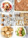 "Six images of breakfast recipes with text overlay, ""One Hour Breakfast Freezer Cooking Meal Plan""."