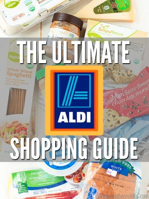 "Groceries found at Aldi with text overlay, ""The Ultimate Aldi Shopping Guide""."