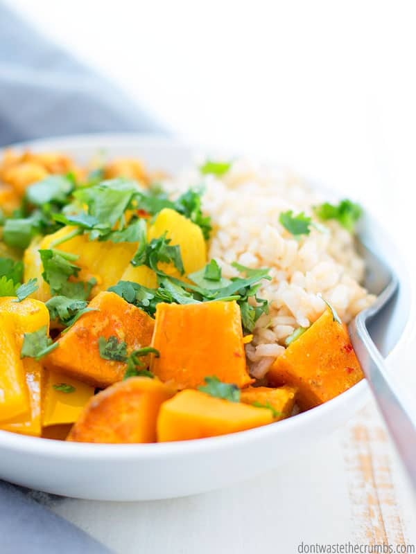 how to stick to your meal plan when you are tired. A bowl of slow cooker thai pineapple vegetarian curry