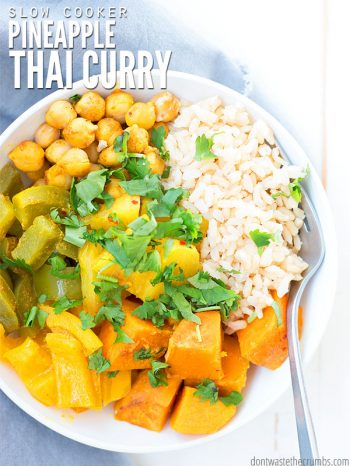 An easy, delicious vegetarian recipe with FRESH pineapple. This slow cooker Thai pineapple vegetarian curry is loved by the whole family! : : DontWasteTheCrumbs.com