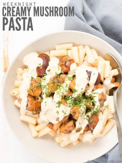 This simple & healthy creamy mushroom pasta recipe is perfect for a weeknight dinner. There's no cream, naturally vegan & packed with garlic & herbs! : : DontWasteTheCrumbs.com