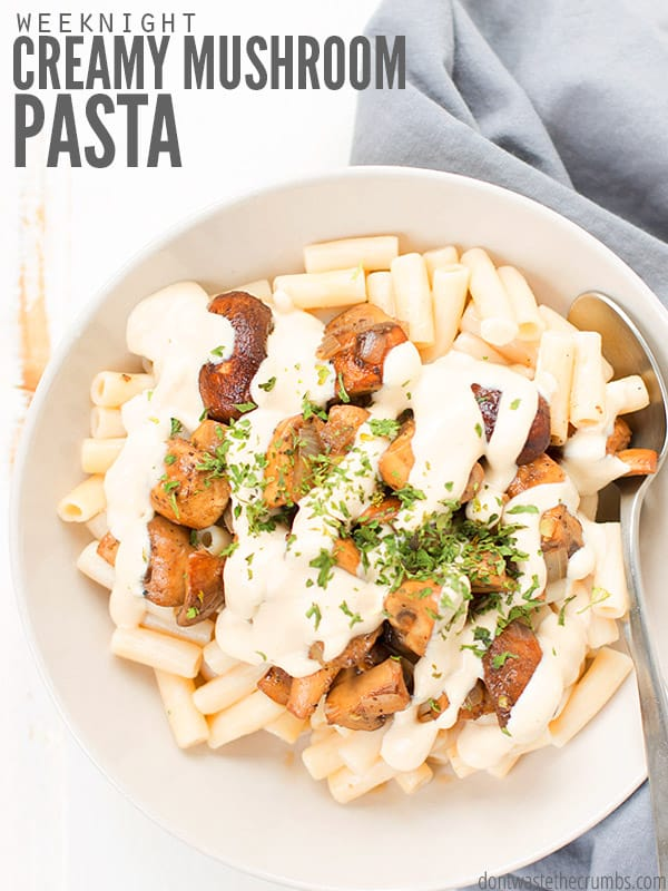 Creamy Mushroom pasta, from the top, mushrooms on top of pasta, drizzled with creamy sauce, sprinkled with green herbs. A spoon is in the bowl.