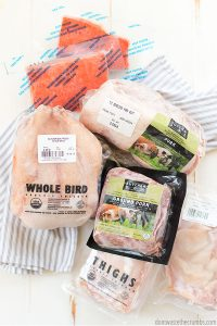 Whole Chicken, ground beef, pork roast, chicken breasts from Butcher Box meat delivery subscription service
