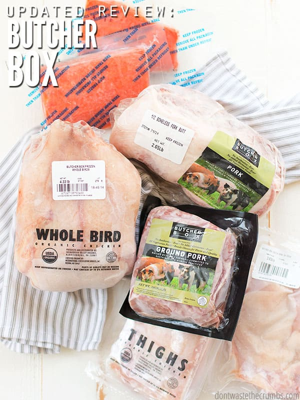An updated Butcher Box review (from 2018) to include thoughts on their beef, chicken, pork & salmon, plus their plans, negative reviews and a discount code! :: DontWastetheCrumbs.com