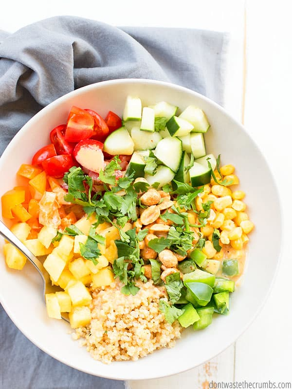 Crunchy vegetables and quinoa salad with cilantro.
