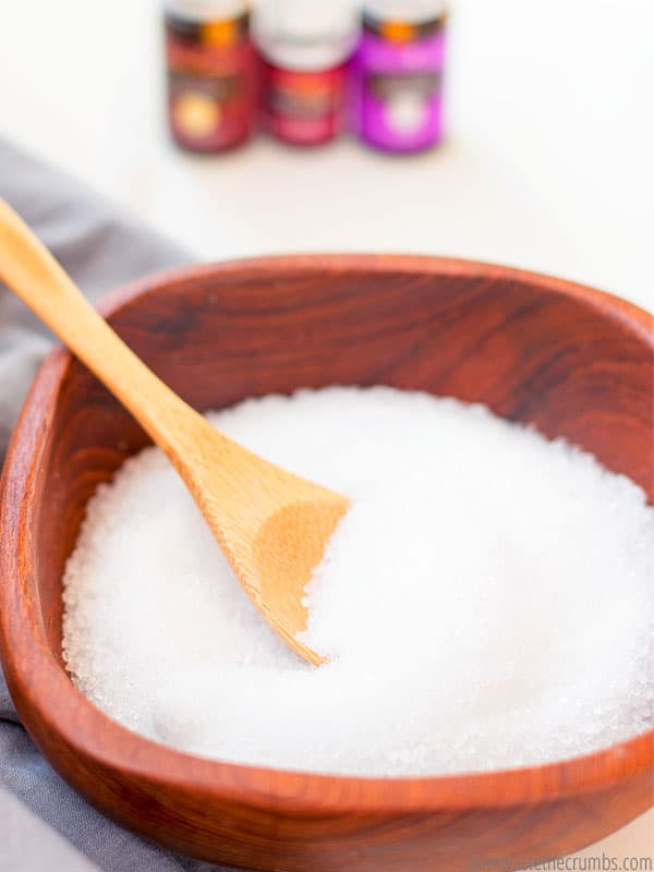 Epsom salts for DIY laundry detergent. Natural cleaning supply made with essential oils.