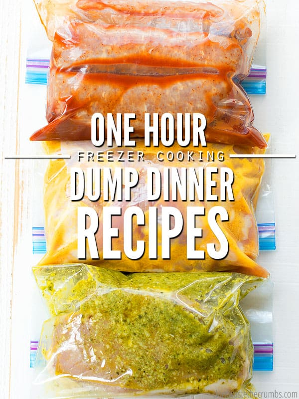 One Hour Freezer Cooking Dump Dinner Recipes with three slow cooker meals ready for the freezer.
