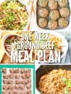 Get the one week meal plan with ground beef recipes using just 2 pounds of ground beef. Shopping list and recipes are included! : : DontWasteTheCrumbs.com