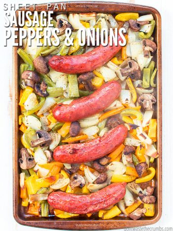 If you want an easy dinner recipe, this is the best sheet pan sausage and peppers dinner recipe that the whole family loves! : : DontWasteTheCrumbs.com