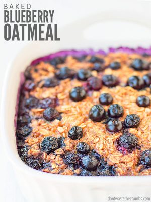 Easy recipe for Amish-style baked oatmeal with blueberries, but you can use apples or bananas. Includes option for vegan, crockpot and serving for one! :: DontWastetheCrumbs.com