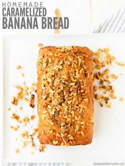 This is the best banana bread recipe that's healthy, easy to make and moist! There's no butter, add walnuts or chocolate chips or even make muffins instead! :: DontWasteTheCrumbs.com