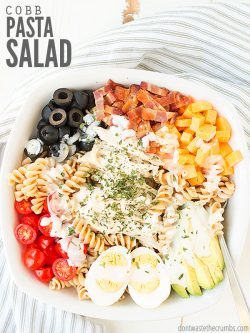 We make this California cobb pasta salad recipe with bacon every week in the summer. It's easy, healthy & a nice variation from Greek pasta salad! :: DontWastetheCrumbs.com
