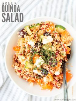 Light and healthy Greek quinoa salad with fresh vegetables and chickpeas is the perfect make-ahead lunch or side-dish. Top with dill or avocado if you can! : : DontWasteTheCrumbs.com