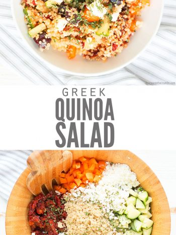 Greek Quinoa salad with crunch vegetables and sun dried tomatoes and greek salad dressing. Perfect for lunch!