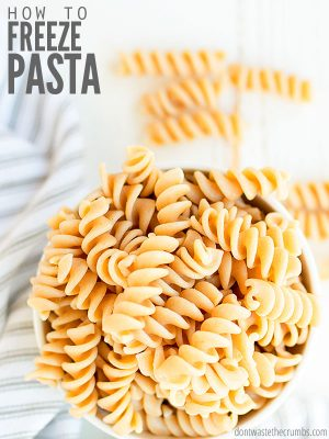 Did you know you can freeze cooked pasta? Learn how to freeze shells, spaghetti & egg noodles - with or without sauce. Great for baby or a quick dinner! :: DontWastetheCrumbs.com