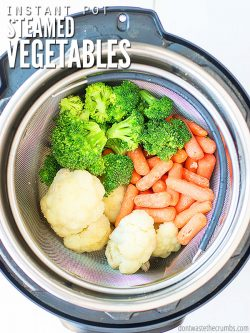 Instant Pot steamed vegetables make an easy side dish for any recipe, even without a steamer basket! Use a broccoli and carrot medley, or root vegetables. :: DontWastetheCrumbs.com