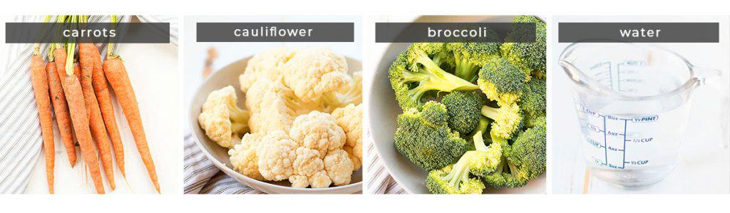 Image showing recipe ingredients carrots, cauliflower, broccoli, and water.