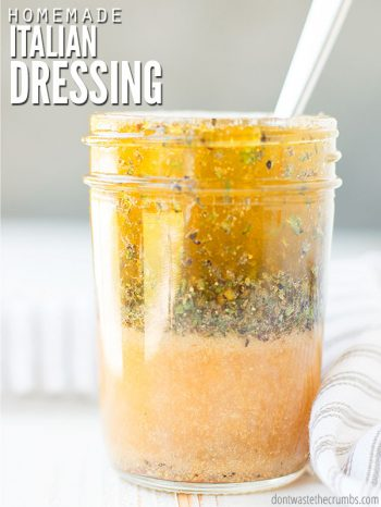 My zesty homemade Italian dressing recipe is fresh, authentic & a great marinade mix! We think this Italian vinaigrette it's the best, better than Olive Garden or Hidden Valley any day! :: DontWastetheCrumbs.com