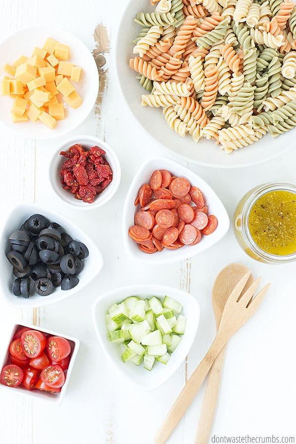 Pasta salad ingredients with Italian dressing