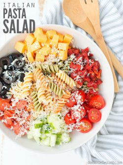 Quick & easy recipe for the best Italian pasta salad - classic, zesty flavor with homemade Italian dressing! Serve cold with pepperoni, or go no meat! :: DontWastetheCrumbs.com