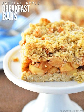 This easy recipe for soft baked oatmeal apple breakfast bars is naturally sweetened & healthy for you! Vegan, gluten-free and dairy-free options too. :: DontWastetheCrumbs.com