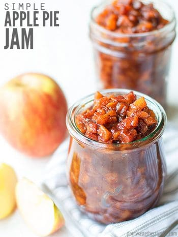 Quick French apple jam that tastes just like apple pie! It's low sugar and can be made without pectin. This favorite apple jelly is a mixture of sour and sweet apples! :: DontWastetheCrumbs.com