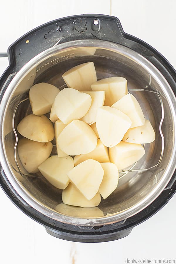 IP mashed potatoes take just 10 minutes to cook in the instant pot. You can leave skins on the chopped potatoes or peel them, whichever you prefer.